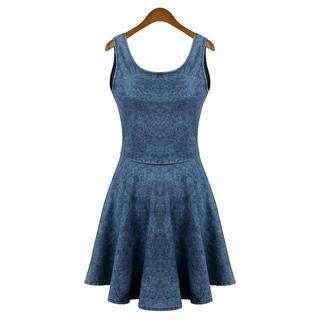Flower Idea - Sleeveless Denim Skater Dress