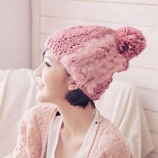 Cuteberry - Furry-Trim Pom Pom Beanie