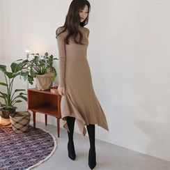 Hello sweety - Asymmetric-Hem Rib-Knit Dress