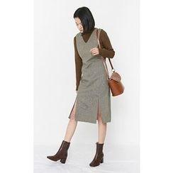 Someday, if - Sleeveless Slit-Detail Wool Blend Midi Dress