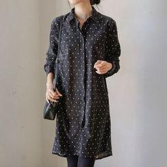 JUSTONE - Ruffle-Hem Corduroy Shirtdress
