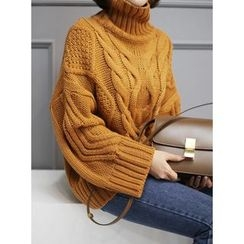 STYLEBYYAM - Turtle-Neck Cable-Knit Sweater