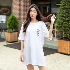 Seoul Fashion - Elbow-Sleeve Printed-Back T-Shirt