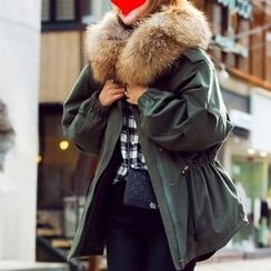 HAZEL - Furry-Trim Hooded Parka