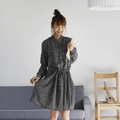 GOROKE - Mandarin-Collar Patterned Shirtdress