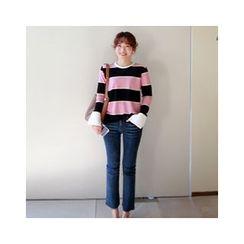 LEELIN - Slit-Cuff Striped T-Shirt