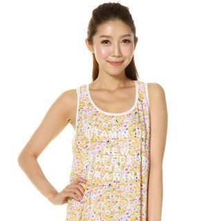 59 Seconds - Wording Print Floral Tank Dress (Belt not Included)