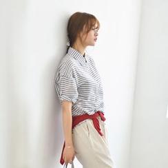 JUSTONE - Tab-Sleeve Stripe Shirt