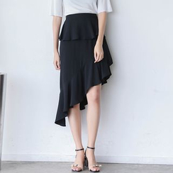 Sens Collection - Ruffle Asymmetric Chiffon Skirt