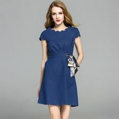 Cherry Dress - Short-Sleeve Denim A-line Dress
