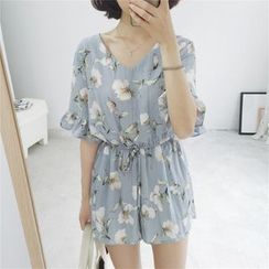 Mikiko - Floral Print Elbow-Sleeve Playsuit
