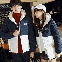 Bay Go Mall - Couple Matching Color Panel Hooded Padded Coat