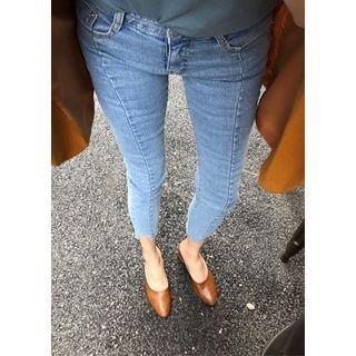 ssongbyssong - Seam-Detail Frey-Hem Jeans