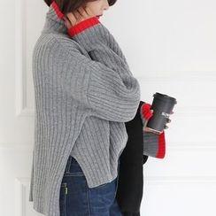 DABAGIRL - Turtle-Neck Wool Blend Rib-Knit Top
