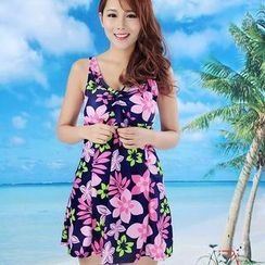 Rachel Swimwear - Bow-Accent Printed Swimdress
