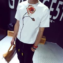 uninukoo - Floral Print Short-Sleeve Neoprene T-shirt