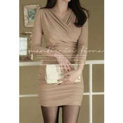 MyFiona - Long-Sleeve Shirred Bodycon Dress