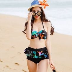 Beach Date - 荷叶边印花比基尼套装