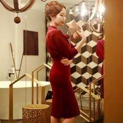 Dabuwawa - 3/4-Sleeve Tie-Neck Dress
