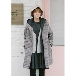 GOROKE - Detachable-Hood Wool Blend Glen-Plaid Coat