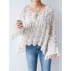 STYLEBYYAM - Floral Patterned Ruffle-Trim Asymmetric-Hem Chiffon Top