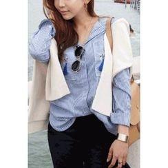 migunstyle - Tassel-Detail Striped Shirt