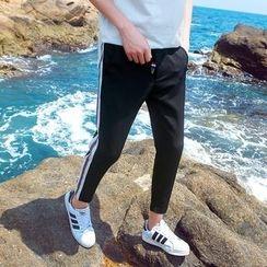 Besto - Striped Cropped Drawstring Pants