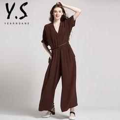 Y:Q - 纯色短袖宽腿连衣裤