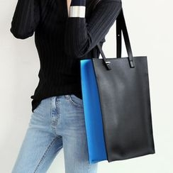 NANING9 - Two-Tone Synthetic Leather Tote
