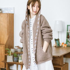 Angel Love - Stitch Detail Chunky Knit Hooded Long Cardigan