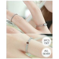 Miss21 Korea - Set of 3: Rhinestone Open Silver Ring