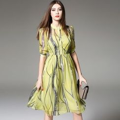 Y:Q - Bubble-Sleeved Printed A-Line Dress