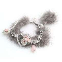 MIPENNA - Grey Snow Deer Crystal Bracelet