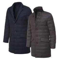 Seoul Homme - Single-Breasted Padded Long Jacket