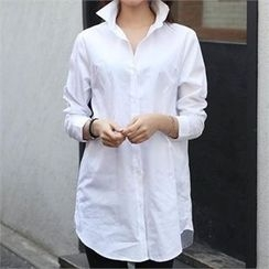CHICFOX - Long-Sleeve Plain Long Shirt
