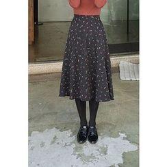 CHERRYKOKO - Band-Waist Floral Print A-Line Skirt