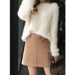 BBAEBBAE - Belted A-Line Skirt