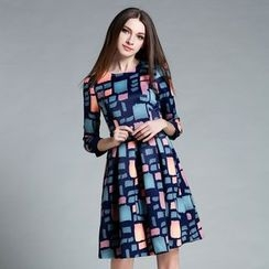 Cherry Dress - Long-Sleeve Patterned A-Line Dress