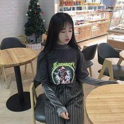 MISS YOYO - 套裝: 短袖印花T恤 + 長袖植毛絨上衣
