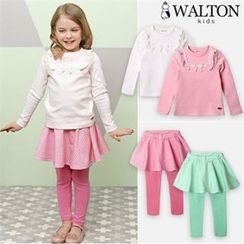 WALTON kids - Girls Set: Frill-Trim Top + Inset Gingham Skirt Leggings