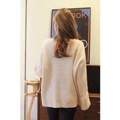 CHERRYKOKO - Wool Blend Oversized Rib-Knit Top