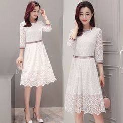 Sofame - Elbow-Sleeve Lace Dress