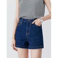 FROMBEGINNING - Stitched Denim Shorts