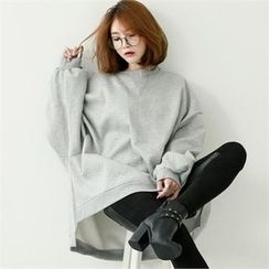 GLAM12 - Round-Neck Fleece-Lined T-Shirt