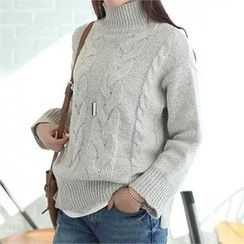 CHICFOX - Turtle-Neck Cable Sweater