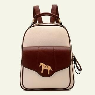 BeiBaoBao - Horse-lock Faux-Leather Backpack