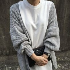 Dute - Lantern Sleeve Chunky Knit Long Cardigan