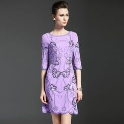 Elabo - Sequined Elbow-Sleeve Shift Dress