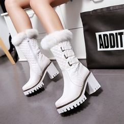 Pastel Pairs - Block Heel Buckled Fluffy Trim Mid-calf Boots