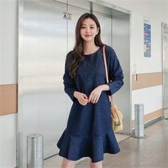 Styleberry - Long-SLeeve Ruffle-Hem Denim A-line Dress